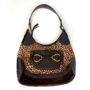 Cole Haan Pink Leopard Shoulder Hobo Bag